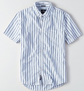 AEO Short Sleeve Poplin Stripe Shirt