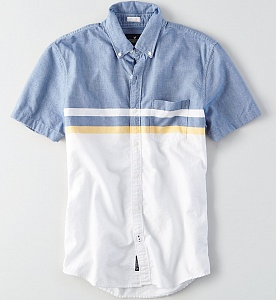 AEO Colorblock Short Sleeve Oxford Shirt