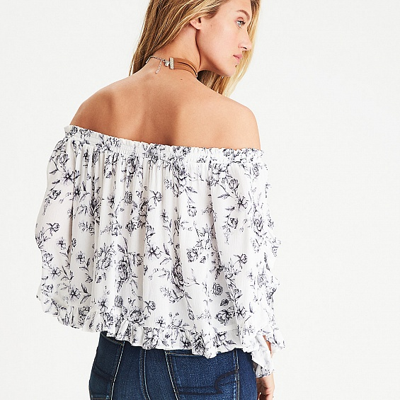AEO Bell Sleeve Crop Top